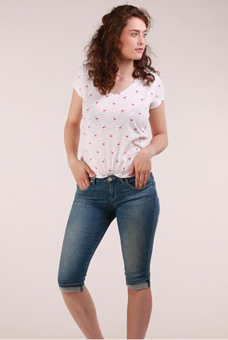 Flamingo print Shirt Bone Wit