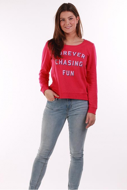 Sweater tekstprint Sound Pink Peacock/FOREVER CHASING FUN