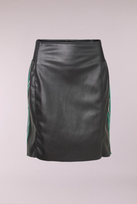 Leather look Rok Band met bies Black/BAND HOLLY GREEN