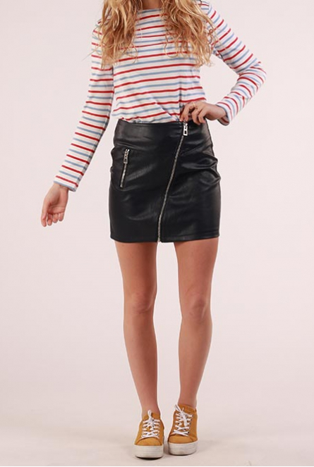 leather look Rok Sif Blauw