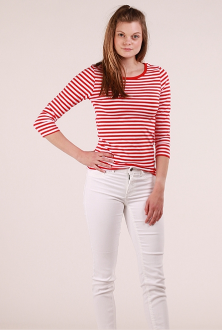 Gestreept Shirt Rine Bright White/FLAME SCARLET