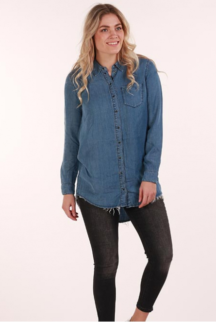 Lange Blouse Lary met rafels Medium Blue Denim