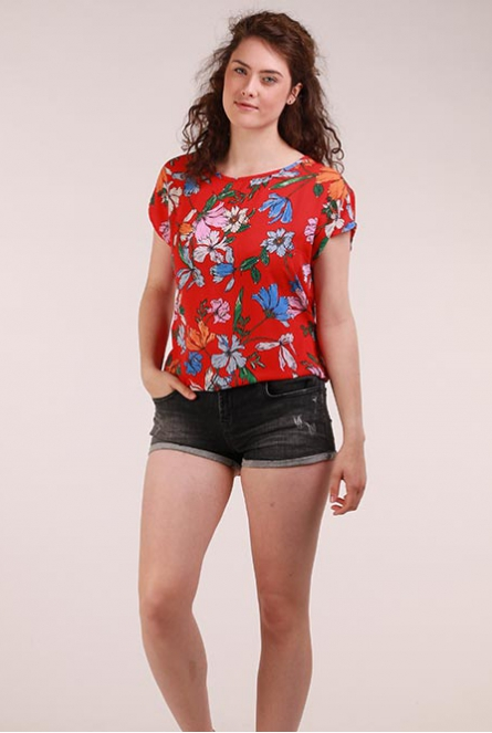 Bloemenprint Blouse Chili Rood