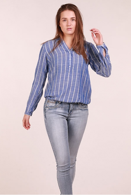 Gestreepte Blouse dark blue stripe vertical     Blue