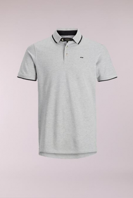 Polo Paulos Light Grey Melange/SLIM FIT - MELAN