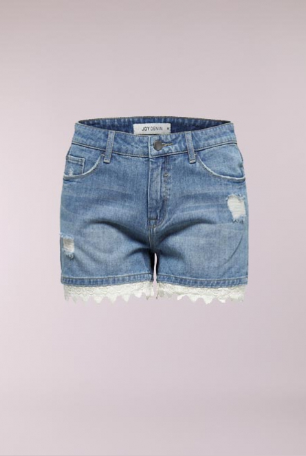 Denim Short Vera met kant Medium Blue Denim