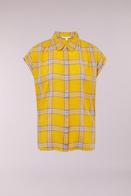 Geruiten Blouse yellow check                  Yello