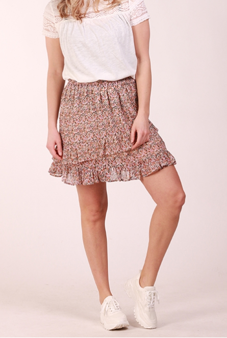 Rok Jennifer met bloemenprint Shadow Gray/THYME LEAVES