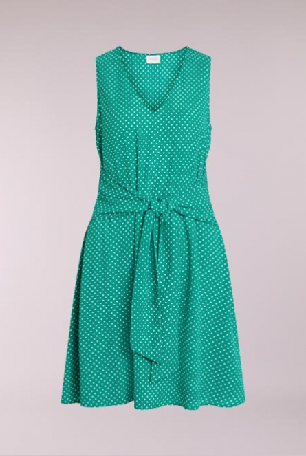 Jurk Dottia met dots Pepper Green/CLOUD DANCER DOTS