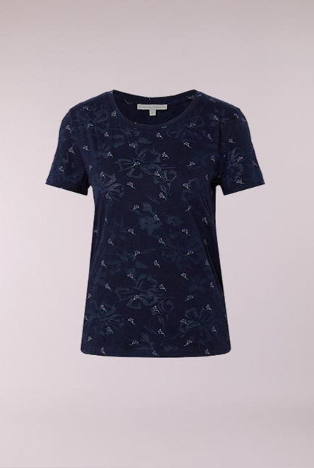 Shirt navy minimal flower print     Blue