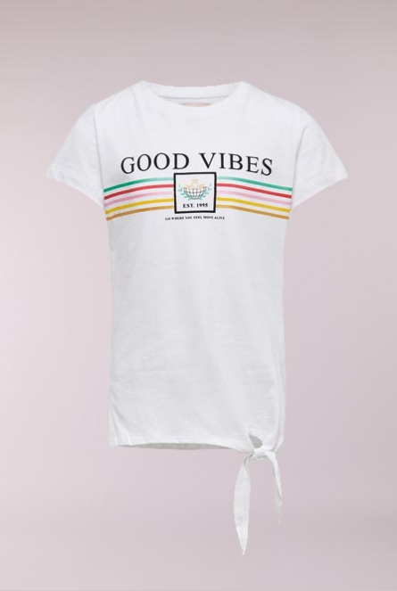 Shirt Foil met knoop Bright White/GOOD VIBES