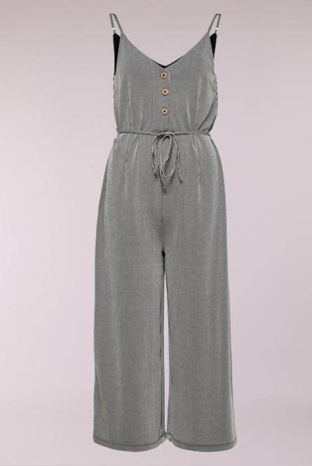 Gestreepte Jumpsuit Shirley Black/CLOUD DANCER