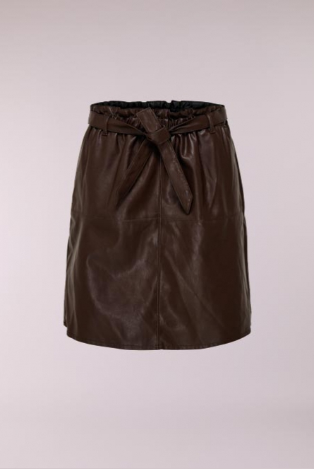 Leather look Rok Rigie Bruin