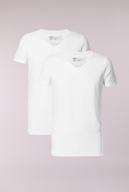 Basic Shirt V-Neck 2-Pack Wit