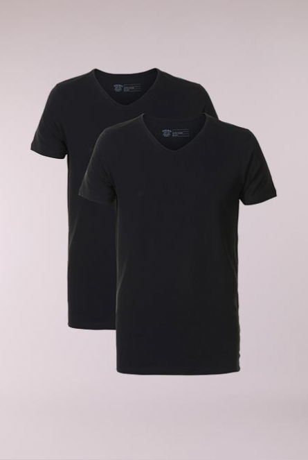 Basic Shirt V-Neck 2-Pack Zwart