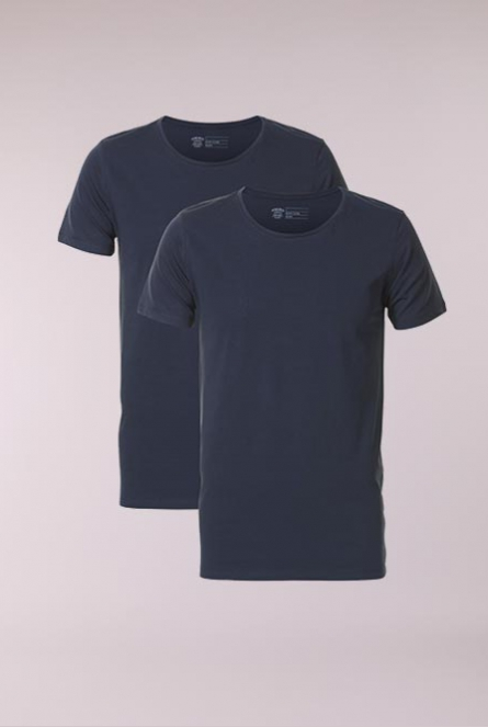 Basic Shirt R-neck 2-Pack Blauw