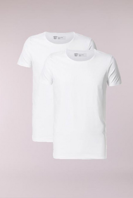 Basic Shirt R-neck 2-Pack Wit