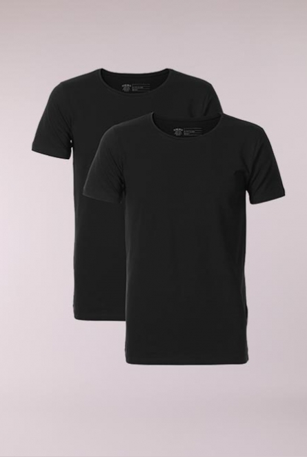 Basic Shirt R-neck 2-Pack Zwart