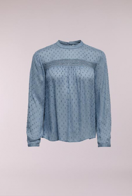 Shirt lange mouw met kant China Blue