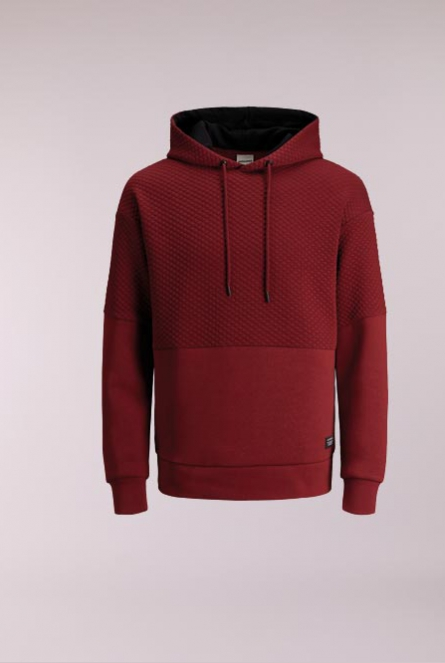Hoodie Button Rood