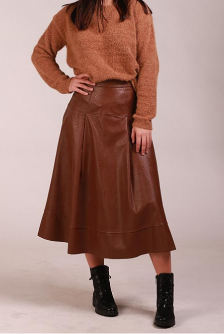 Leather look Rok Bruin