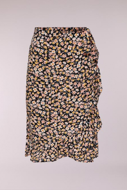 midi Rok Fuchsia Black/RANCH FLORAL