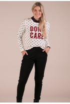Dunne sweater Amina Print wit