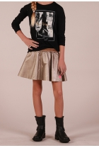 leather- look Rok  Goud