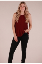 plissé Top Bordeaux rood